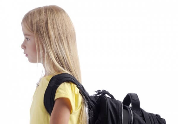 girl with backpack close up